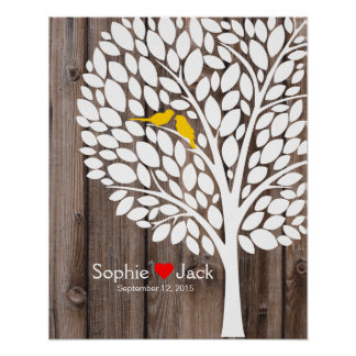 bois de jaune d'arbre de livre d'invité de mariage