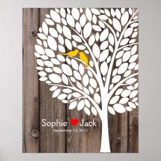 bois de jaune d'arbre de livre d'invité de mariage poster
