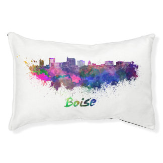 Boise City skyline in watercolor Pet Bed
