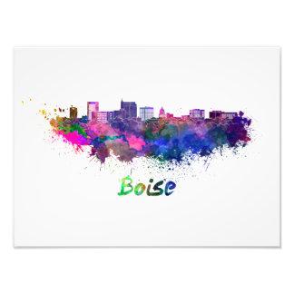 Boise City skyline in watercolor Photo Print