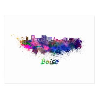 Boise City skyline in watercolor Postcard