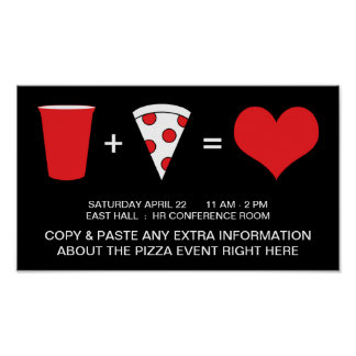 boissons + pizza = amour poster