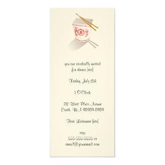Boîte à emporter de restaurant chinois carton d'invitation  10,16 cm x 23,49 cm