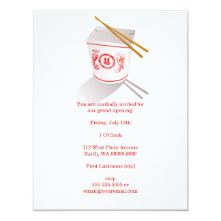 Boîte à emporter de restaurant chinois carton d'invitation 10,79 cm x 13,97 cm