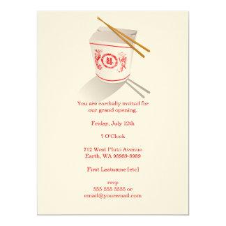 Boîte à emporter de restaurant chinois carton d'invitation  16,51 cm x 22,22 cm