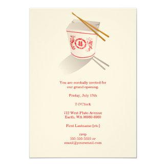 Boîte à emporter de restaurant chinois carton d'invitation  12,7 cm x 17,78 cm