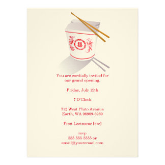 Boîte à emporter de restaurant chinois cartons d'invitation