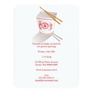 Boîte à emporter de restaurant chinois cartons d'invitation personnalisés