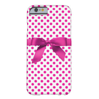 Boîte-cadeau rose de Polkadot Coque Barely There iPhone 6