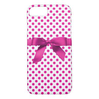 Boîte-cadeau rose de Polkadot Coque iPhone 7