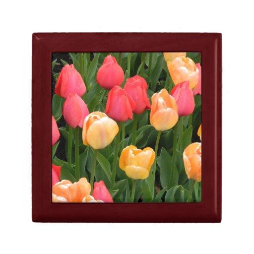 Boîte-cadeau rouge/jaune de tulipes boîtes à souvenirs
