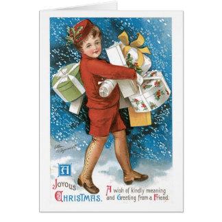 Boîtes-cadeau joyeuses de Noël démodé Carte De Vœux