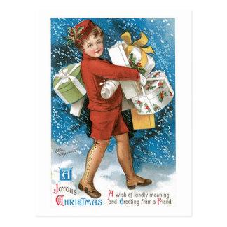 Boîtes-cadeau joyeuses de Noël démodé Carte Postale