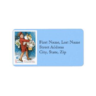 Boîtes-cadeau joyeuses de Noël démodé Étiquette D'adresse