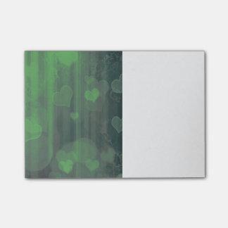 bokeh 04 hearts,green (I) Post-it Notes