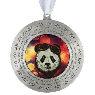 Bokeh Art with Panda Round Pewter Ornament