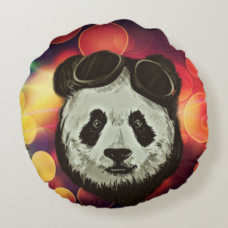 Bokeh Art with Panda Round Pillow