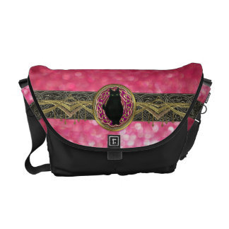 Bokeh Bast Goddess of Glitter in Pink Gold & Black Commuter Bags