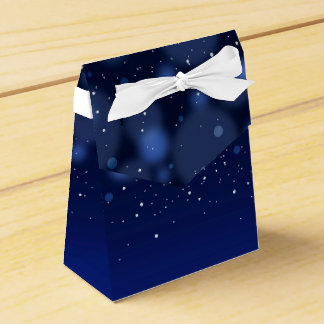 Bokeh Blue Abstract Starry Sky Party Favor Boxes