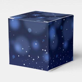 Bokeh Blue Abstract Starry Sky Wedding Favor Box