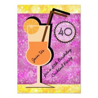 Bokeh Cocktail Party Birthday Invitations