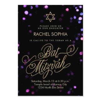Bokeh Glam Faux Gold Bat Mitzvah Invitation