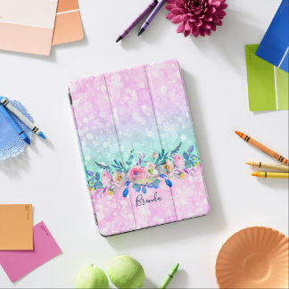 Bokeh Glitter & Colorful Flowers Bouquet iPad Pro Cover