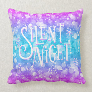 Bokeh Glitter Modern Typography-Silent Night Throw Pillow
