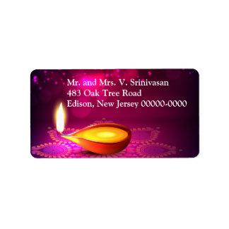 Bokeh Lights Diwali Lamp Return Label