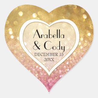 Bokeh Movie Premier Ticket Style Gold Pink Sparkle Heart Sticker