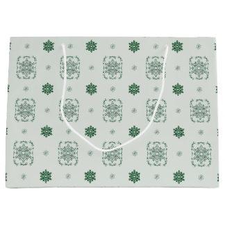 Bokeh Navidad Decorative Snowflakes Large Gift Bag
