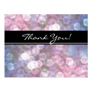 bokeh, sparkle lights, trendy, event, thank you postcard