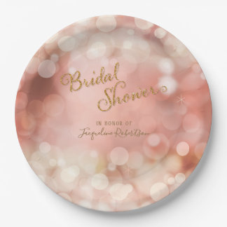 Bokeh Sparkle Twinkle Lights Pastel Pink Bridal Paper Plate