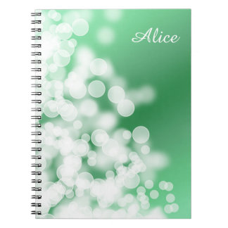 bokeh style green texture notebooks