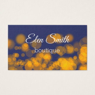 Bokeh Style Navy Orange Business Card