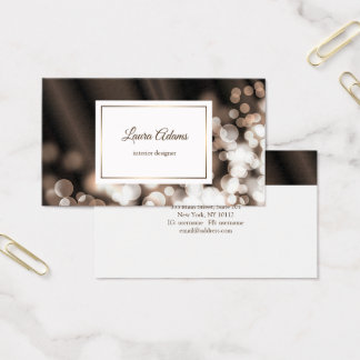 Bokeh style silk texture. Text. Business Card