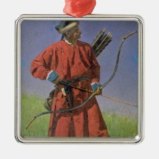 Bokharan Soldier , 1873 Silver-Colored Square Ornament