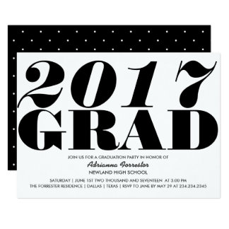 Bold 2017 Grad Typography Simple Typography Card