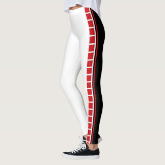 Bold Abstract Black White and Red Leggings