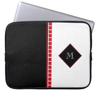 Bold Abstract Black White and Red Monogram Laptop Sleeve