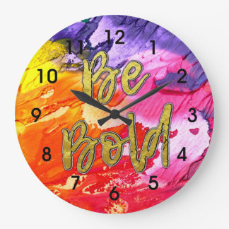 Bold Abstract Clock in Purple Red Pink Orange