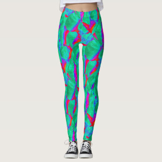bold abstract design red green leggings