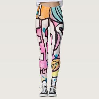 Bold Abstract Quirky Graffiti Vibrant Color Block Leggings