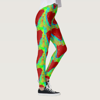 bold abstract red hearts  green leggings