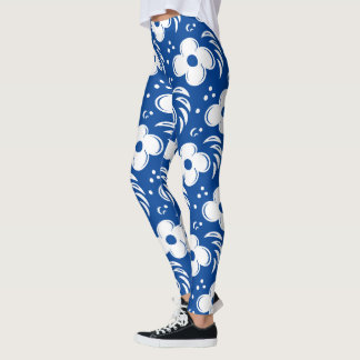 Bold and Beautiful Blue and White Flowers Leggings