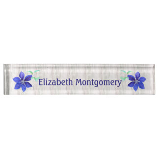 Bold and Beautiful Purple Clematis Flowers Custom Name Plate