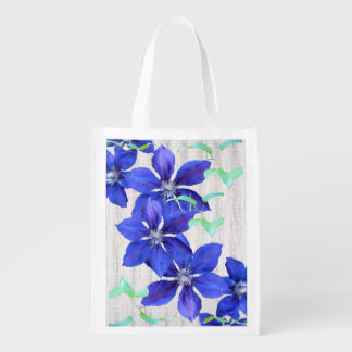 Bold and Beautiful Purple Clematis Flowers Reusable Grocery Bag