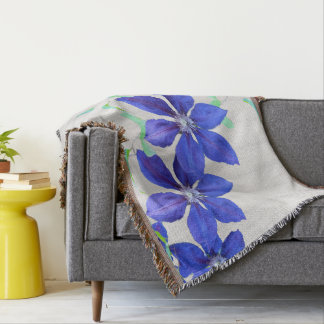 Bold and Beautiful Purple Clematis Flowers Throw Blanket