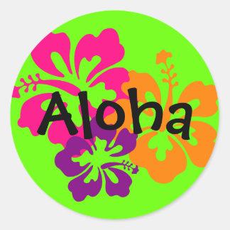 Bold and Bright Hawaiian Flowers Round Sticker