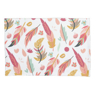 Bold and Colorful Boho Feathers Pillowcase